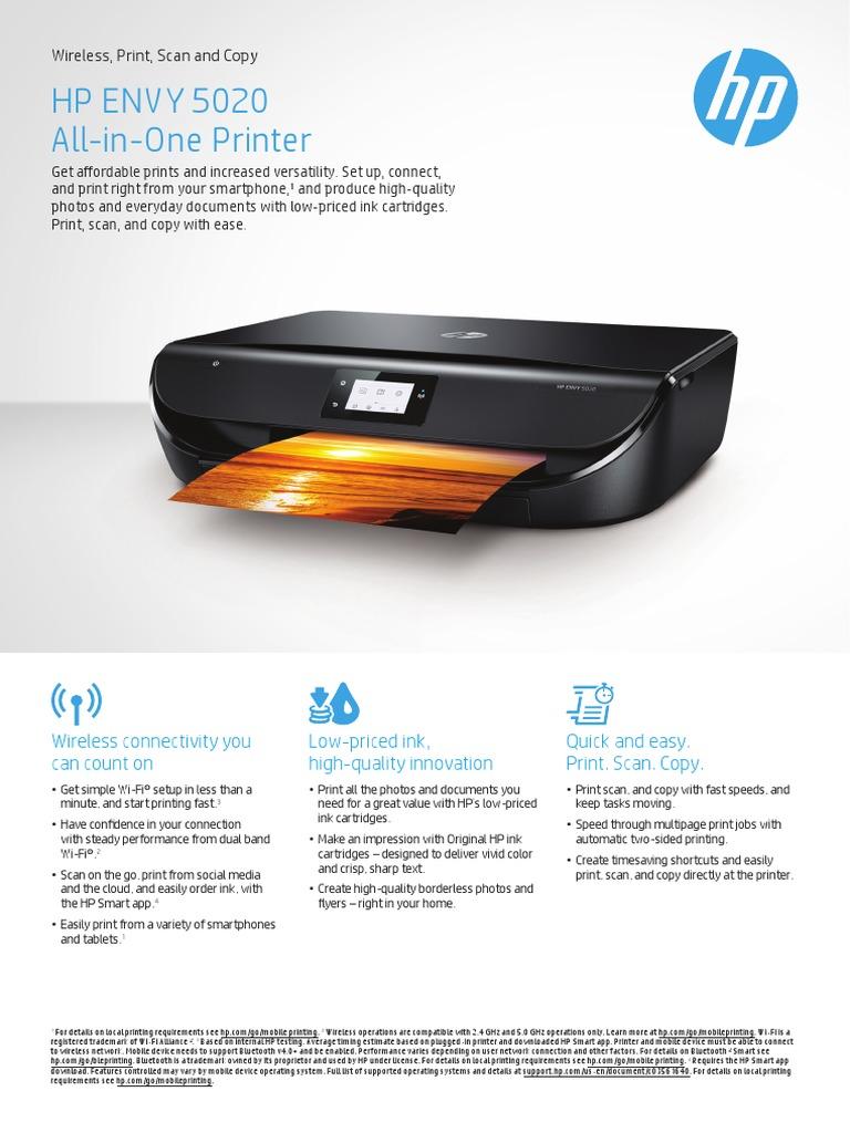 HP ENVY 5020 Datasheet pdf | Microsoft Windows | 64 Bit