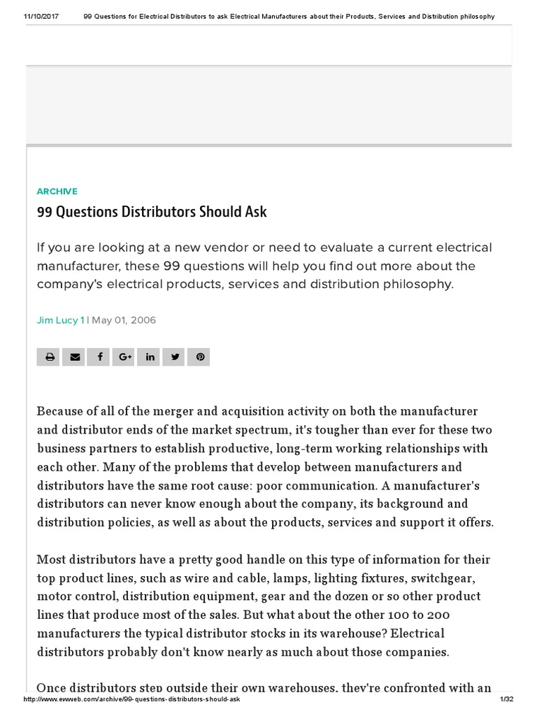 Questions for Electrical Distributors | Distribution (Business