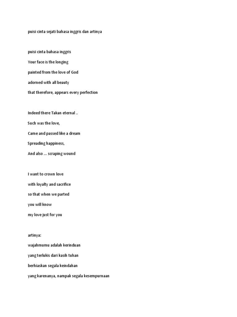 Puisi Cinta Sejati Bahasa Inggris Dan Artinya