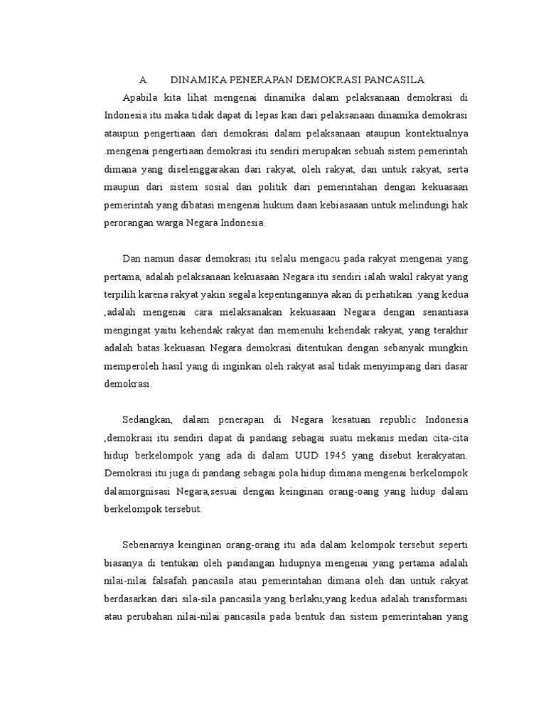 Dinamika Penerapan Demokrasi Pancasila