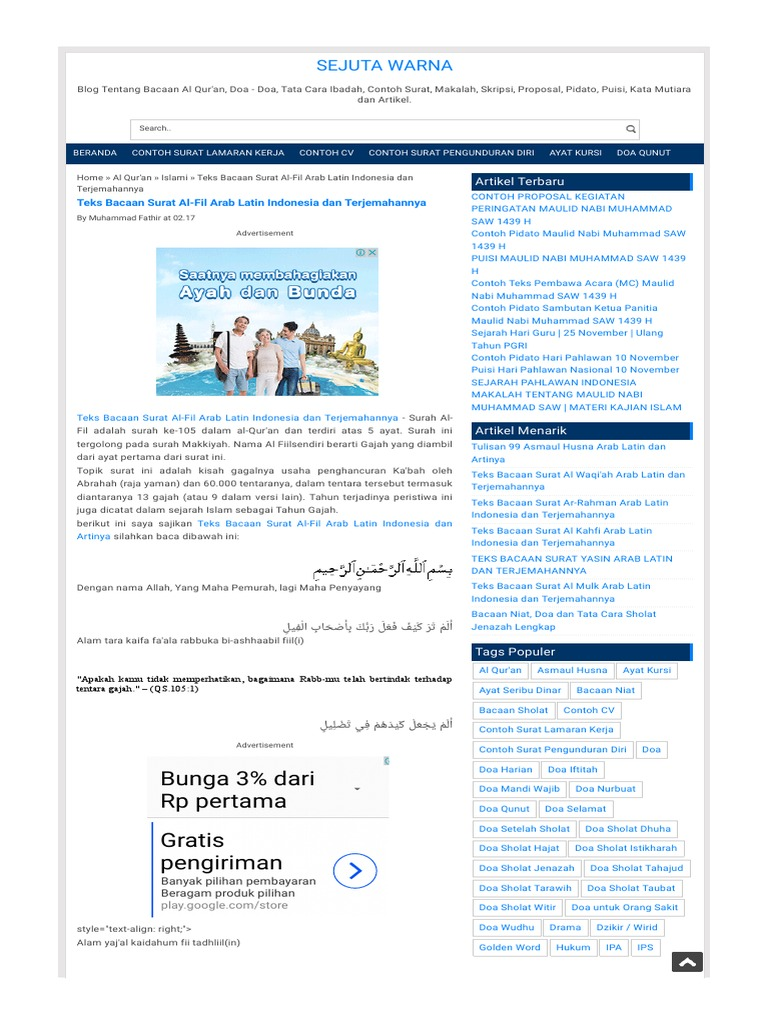 Teks Bacaan Surat Al Fil Arab Latinhtml