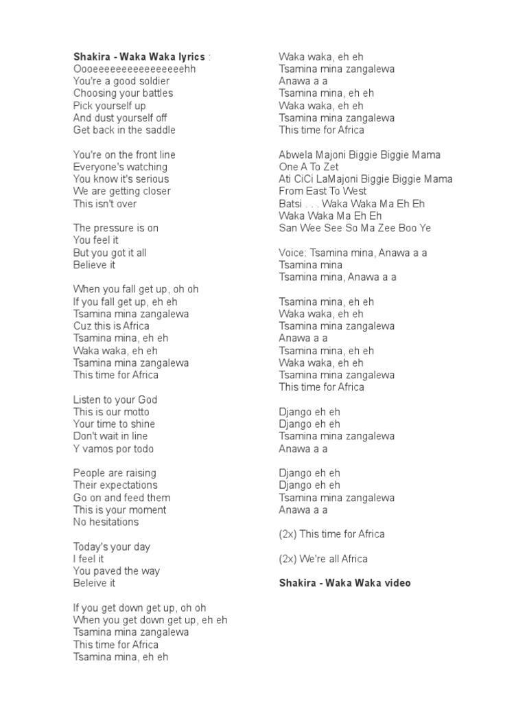 Lirik Lagu Waka Waka Shakira Spanish Language Music Championships