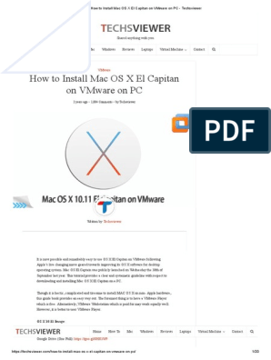 How To Install Mac Os X El Capitan On Vmware On Pc