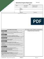 Elementary Progress Report Card Template