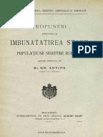 Propuneri Privitoare La Imbunatatirea Starii Populatiunii Noastre Rurale - Grigore Antipa
