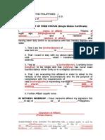 Affidavit of Free Status (Single Status Certificate).doc