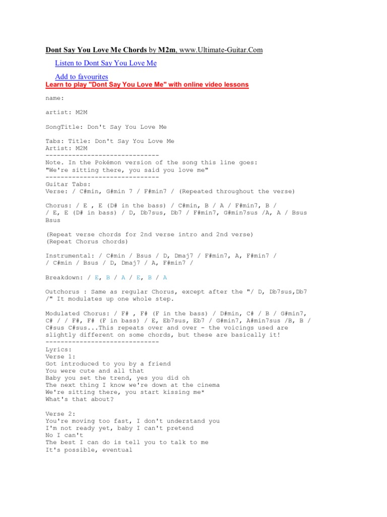 Dont Say You Love Me Chords by M15m   Song Structure   Vocal Music