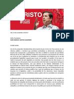 Juan Fernando Cristo solicitó al presidente Santos desistir en la reforma política