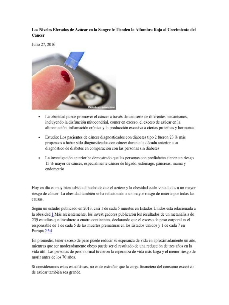 Niveles elevados de sangre y cáncer
