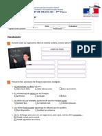 1º Teste Unité 1 Francês