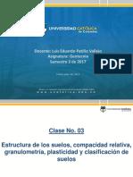 Clase 3 - Estructura de Los Suelos, Compacidad Relativa, Granulometría, Plasticidad, Clasificación de Suelos