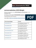 Schoolvakanties 2019 Belgie - Exacte Datums Op Kalender