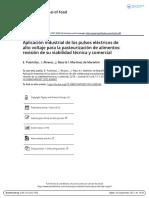 Aplicacion industrial de los pulsos eléctricos de Alto Voltaje para la pasteurización de alimentos Revisión de su viabilidad técnica y comercial