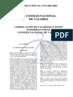 CODIFICACIÓN DE LAS RESOLUCIONES EXPEDIDAS POR EL CONSEJO NACIONAL DE VALORES