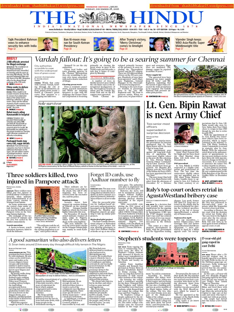 18-12-2016 - The Hindu - Shashi Thakur | Armed Conflict