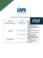 Criterios Para Evaluar Ejercicios
