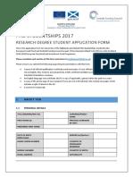 PhD Studentships 2017 Application Form