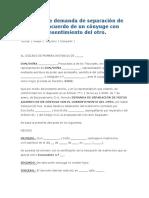 Modelo de Demanda de Separación de Mutuo Acuerdo de Un Cónyuge Con Consentimiento Del Otro (2)