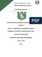 Tratamiento de Aguas Residuales en El Departamento de Cusco Distrito San Jerónimo