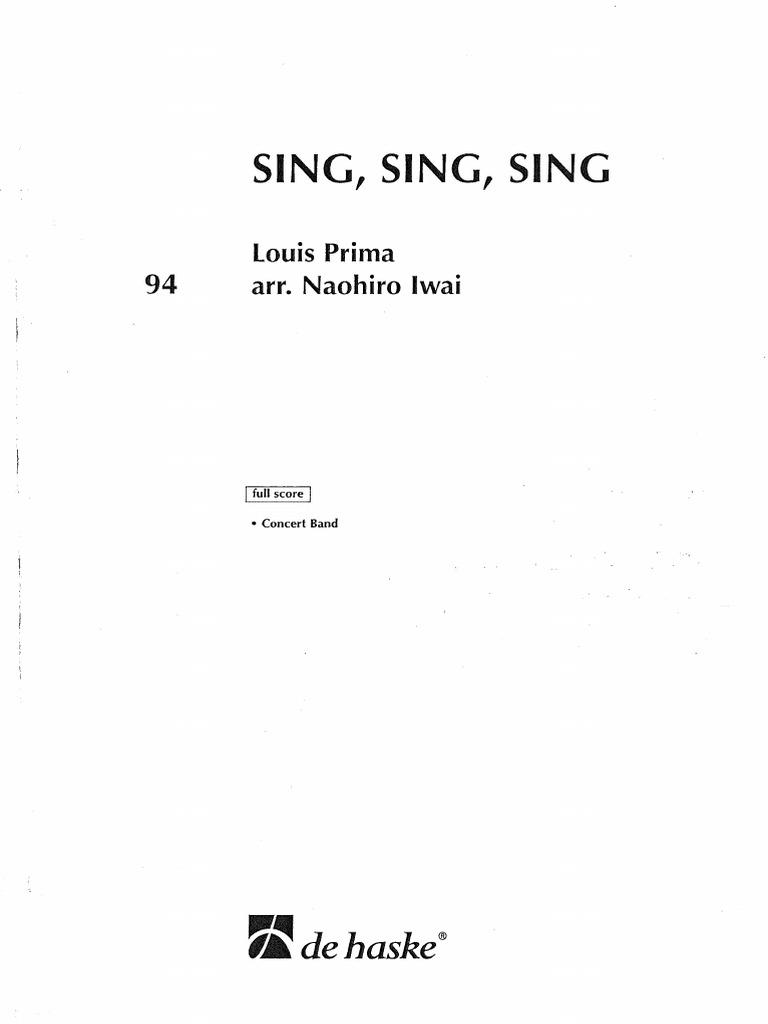 Sing Sing Sing Louis Prima Arr Iwai Instrumentos Musicais