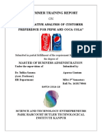 Training Report of comparative analysis of pepsi and coke