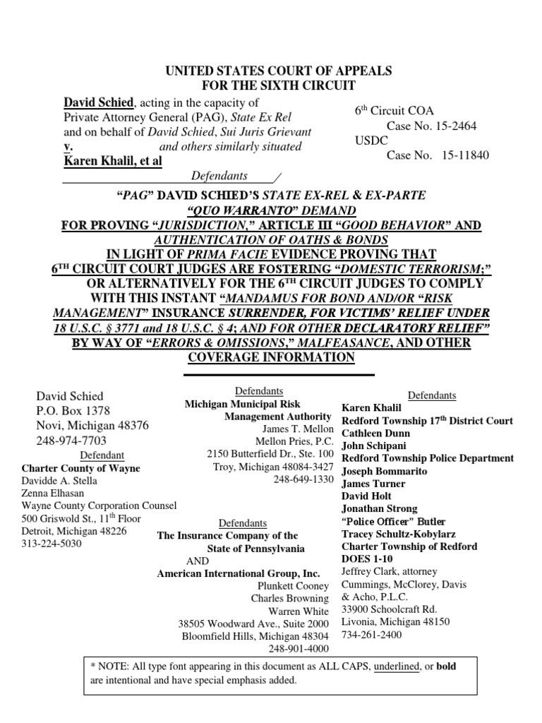 010816 QuoWarrantoon6thCirJudges ALL   United States Constitution ...