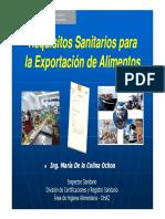 Requisitos Sanitarios para la exportación de alimentos