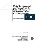 Model Development and Analysis of the Fate and Transport of Water in a Salt- Based Repository