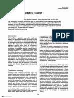 Sampling for Qualitative Research
