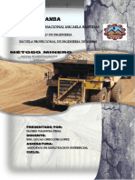 Metodo Minero y Sistema de Explotacion Por Terrazas