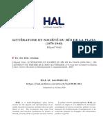 Litterature Et Societe Du Rio de La Plata 1870 1940 Esquisse d Une Theorie de l Objet Litteraire