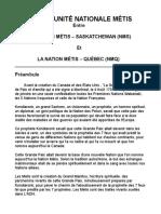 Ébauche du pacte des Métis du Québec et de la Saskatchewan