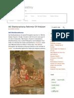 Adi Shankaracharya Adi Guru, Reformer and Great Thinker of Hinduism