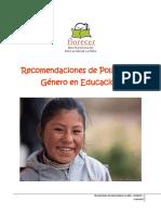 Recomendaciones Politica de Genero Resumen Ejecutivo
