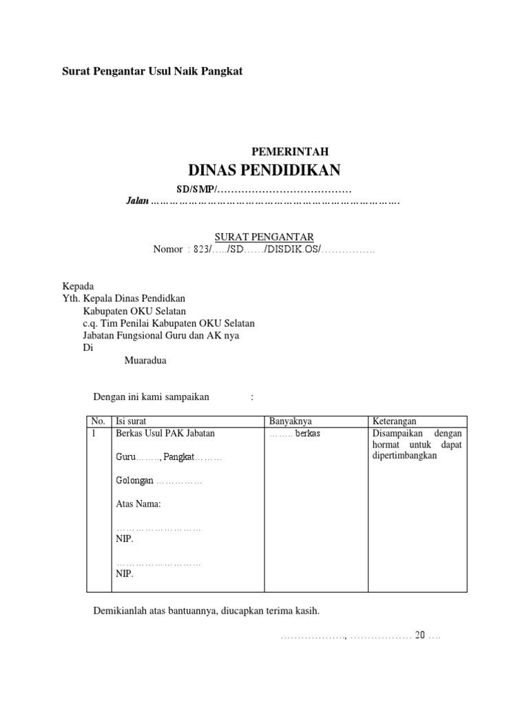 319439319 Surat Pengantar Usul Naik Pangkat Docx