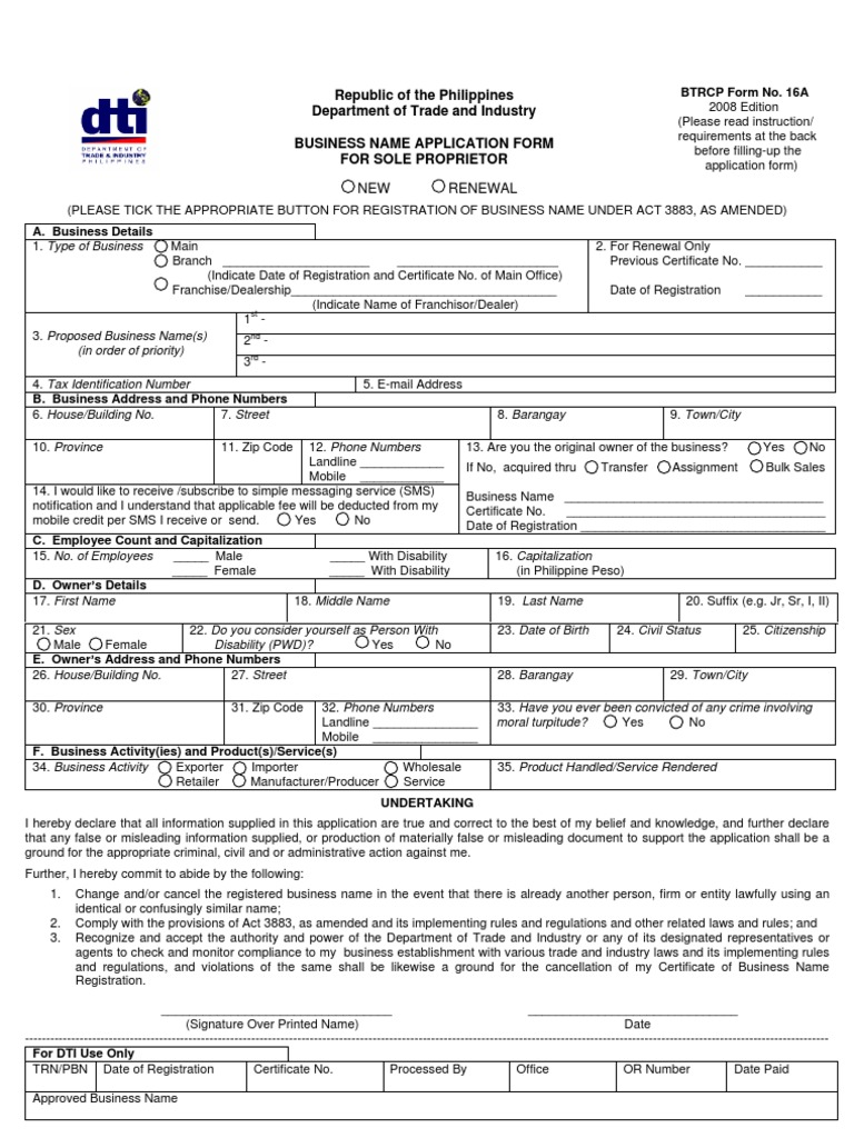 DTI_BN Application Form For Sole Proprietor_Form No. 16A | Franchising |  Identity Document