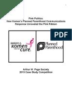 Pink Politics Susan G. Komen Planned Parenthood Case Study