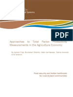 Approaches to Total Factor Productivity Measurements in the Agriculture Economy