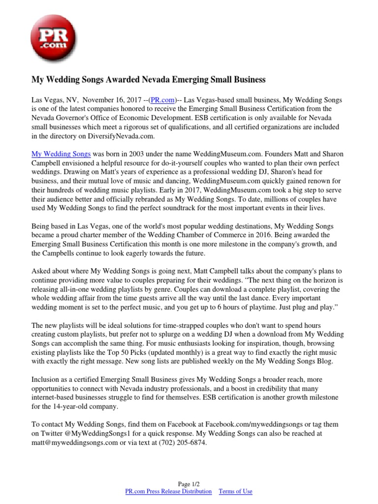 My Wedding Songs Awarded Nevada Emerging Small Business