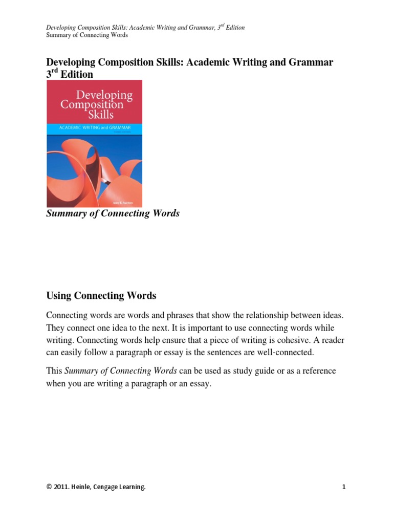 connecting words english essay