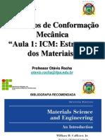 Elementos de Conformação Mecânica -Icm - Aula 1