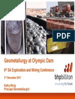 Geometallurgy at Olympic Dam