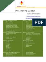 Java Training Kumbakonam Thanjavur Trichy Syllabus