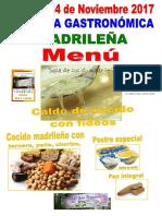 Menu Jornada Gastronomica Madrileña Sf 24-11-17