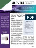 Land Disputes in Myanmar
