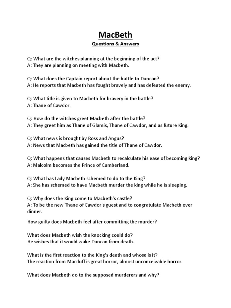 Macbeth Questions And Answers Macbeth Shakespearean Tragedies