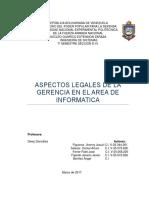 Aspectos Legales de La Gerencia en El Area de Informatica.
