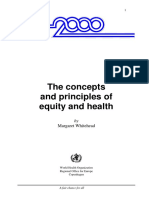 The Concepts and Principles of Equity and Health