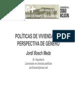 Politicas de Vivienda Con Genero Jordi Bosch