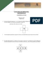 Concurso de Primavera Matematicas Competencia Cotorra (Menores de 12 Años) Segunda Etapa
